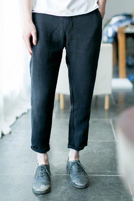 Một số dọc   hai màu ramie feet chín quần nam mùa hè quần âu màu rắn mỏng thanh niên quần mỏng thủy triều Quần mỏng
