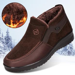老北京布鞋男冬季中老年人爸爸中年加绒加厚保暖冬天老人老头棉鞋